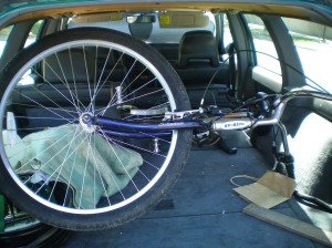 My Bike in the Back of my Volvo Wagon